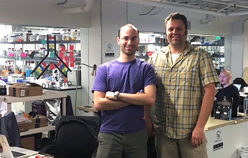 Marc Pollack, left, and Jeremy Warren at IndieBio in San Francisco. IndieBio is a startup accelerator in San Francisco. After a four-month program, Pollack and Warren will present AstRoNA Biotechnologies, Inc., to potential investors at IndieBio's Demo Day this summer.